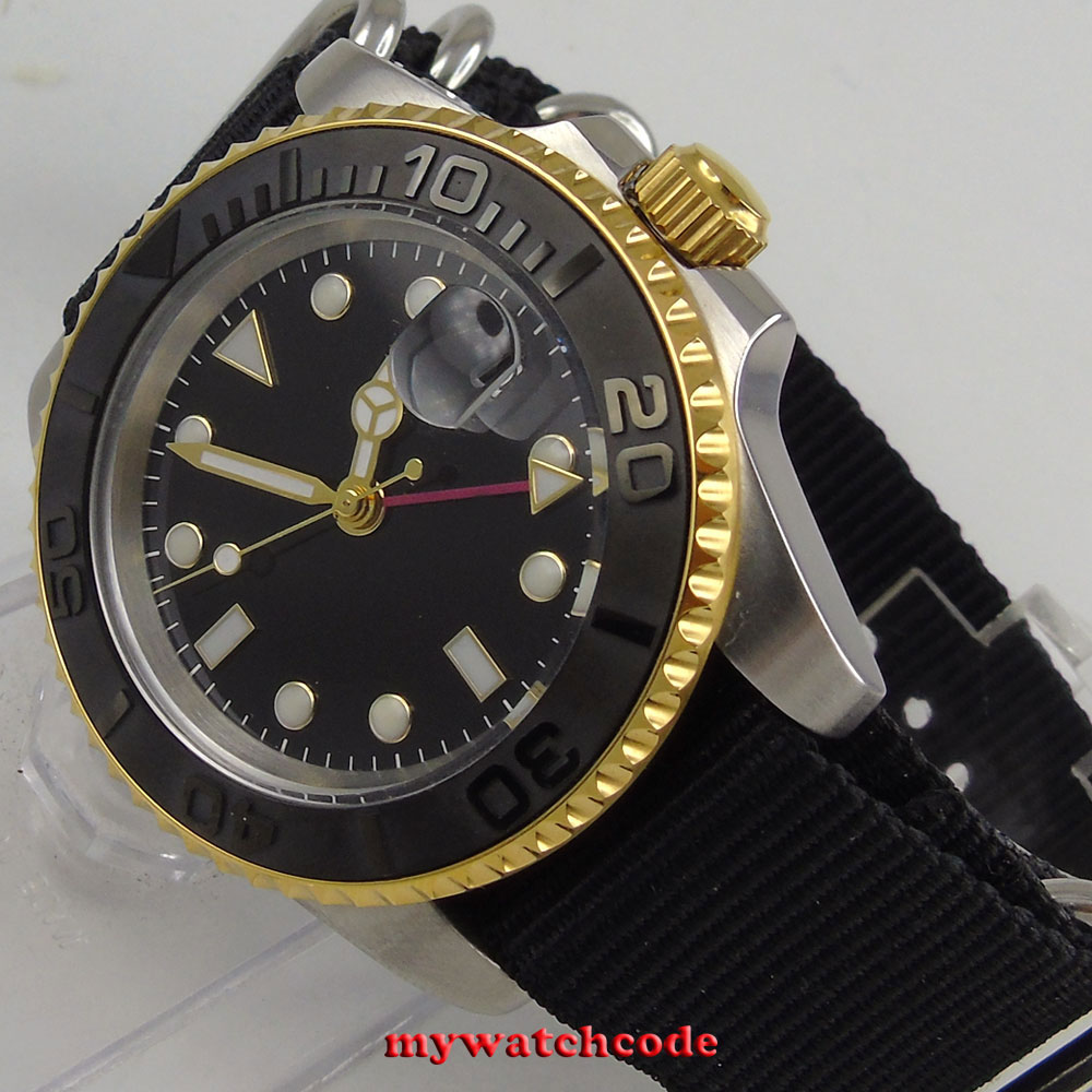 40mm bliger sterile dial date window Sapphire Glass GMT Automatic mens Watch цена и фото