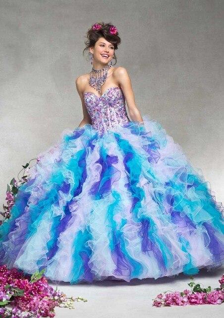 6ff378343 Vestidos De 15 Anos Impresionante Increíble Colorido Del Arco Iris vestido  de Bola Vestidos de Quinceañera