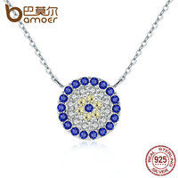 BAMOER New Collection 925 Sterling Silver Trendy Round Blue Clear CZ Pendant Necklaces Women Authentic Silver