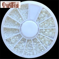 GRACEFUL White Pearl Nail Art Stone Different Size Wheel Rhinestones Beads Nail Sticker Nail decoration   SEPT22