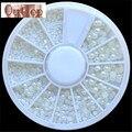 GRACIOSO Branco Pérola Da Arte Do Prego Pedra Tamanho Diferente Roda Pedrinhas Beads Prego decoração de Unhas Autocolante SEPT22