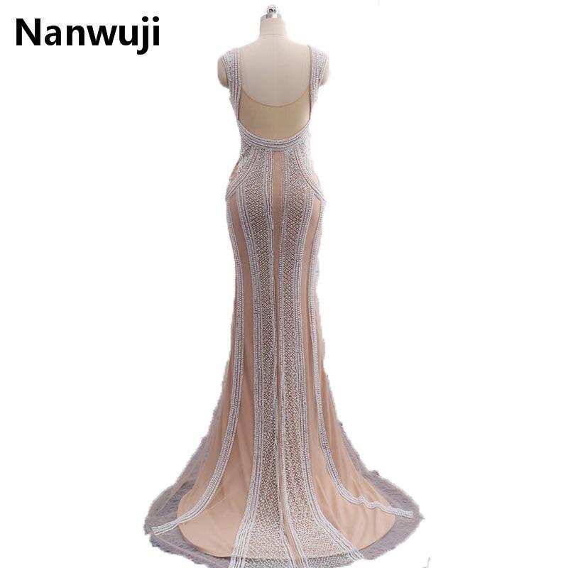 Instock Mermaid Abiye Uzun 2017 Yeni Derin V Yaka Kapaklı Kollu ile - Özel Günler Için Elbise - Fotoğraf 2