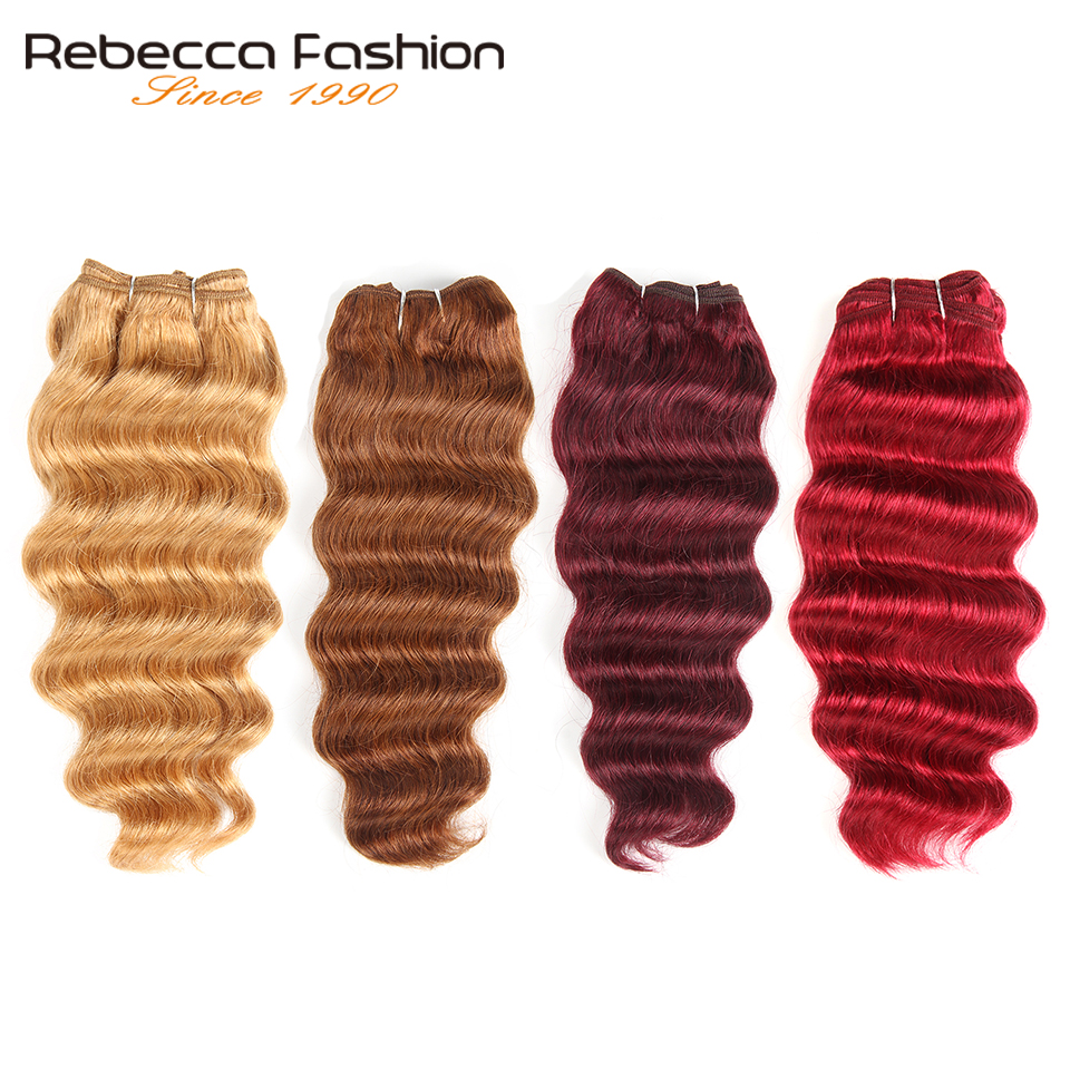Rebecca Natural Hi Deep Wave Human Hair 1 Bundle Deals Brazilian Narural Deep Wave Color Remy Hair #27 #30 #99J #Burgundy Red