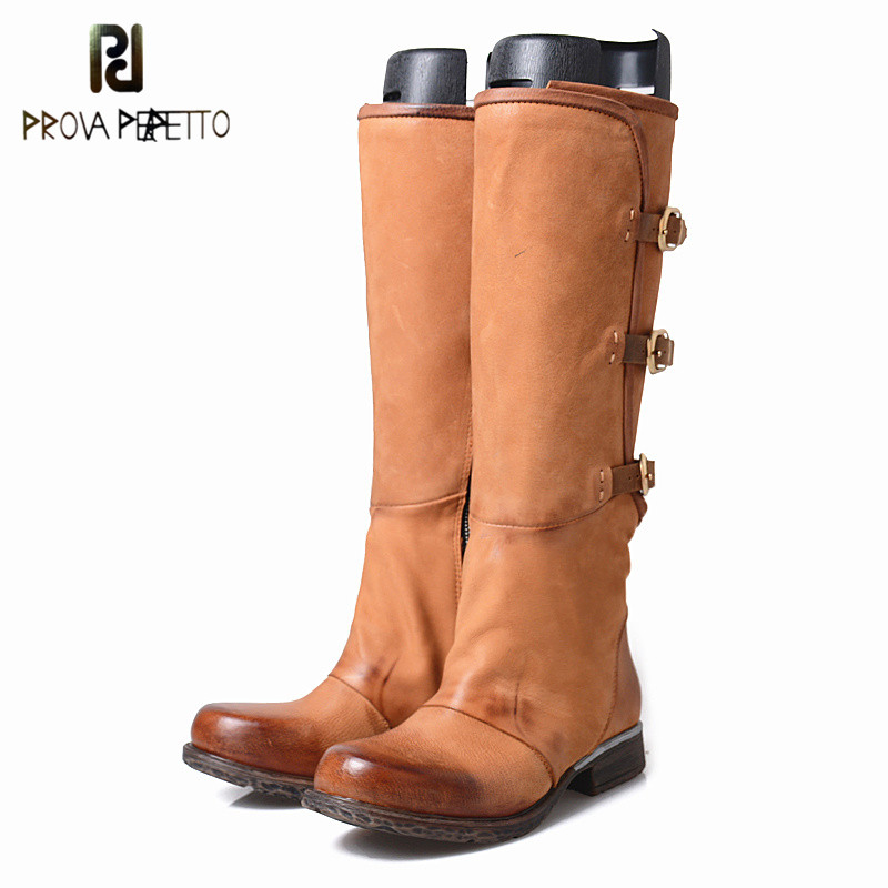 Prova Perfetto New Arrival Concise Style Retro Cow Suede Leather Patchwork Woman knee High Boots Buckle Strap Knight BootsProva Perfetto New Arrival Concise Style Retro Cow Suede Leather Patchwork Woman knee High Boots Buckle Strap Knight Boots