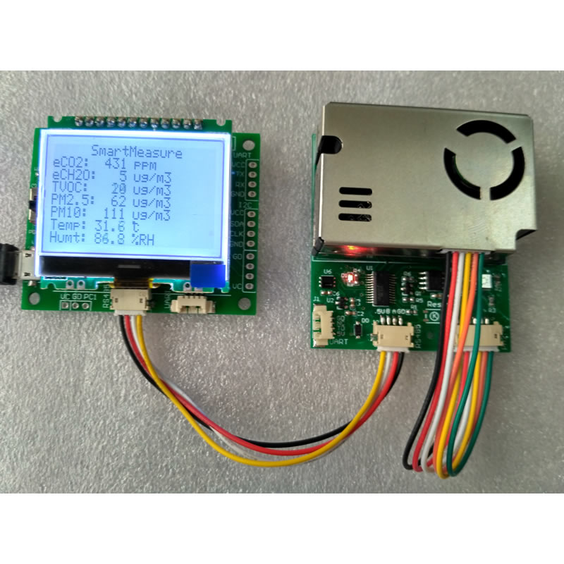 Tester 7 in One sensor module with screen PM2 5 PM10 temperature and humidity C02 formaldehyde
