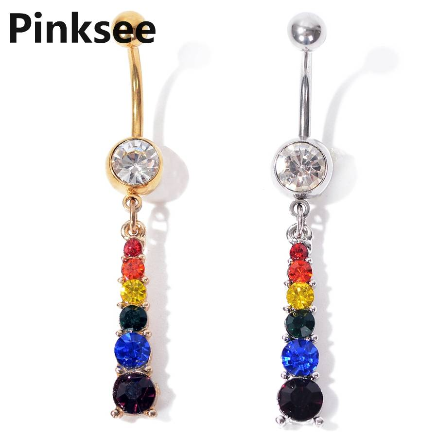 Belly Button Bar Navel Ring Surgical Stainless Steel Rhinestones Body Jewellery