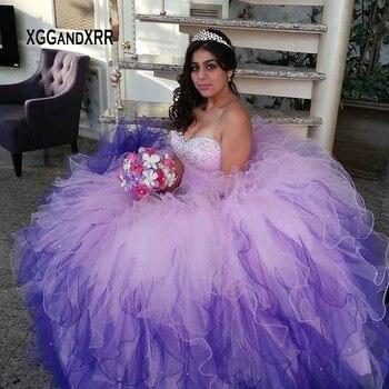 a8630160c Princesa largo vestido de Quinceanera vestidos para 15 16 chicas dulce vestido  de novia Color hombro de Puffy vestido