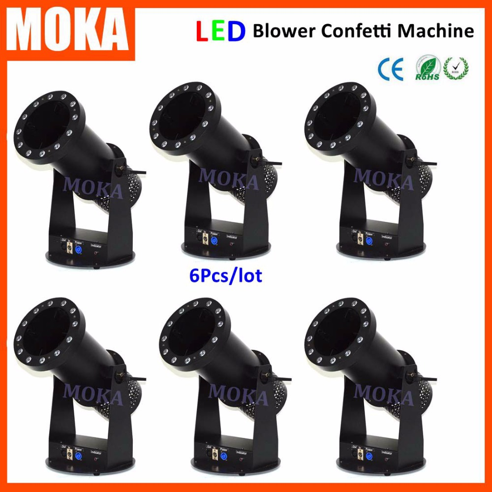 6pcs/lot mini led confetti blower 1200W powerful electric confetti machine with 15led 3w rgb lamp for party wedding decoration