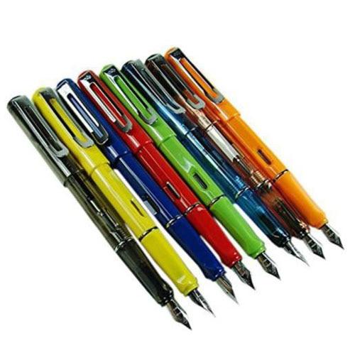 Affordable Jinhao 599 1 Lot/8PCS Fountain Pens Diversity Set Transparent and Unique Style linguistic diversity and social justice