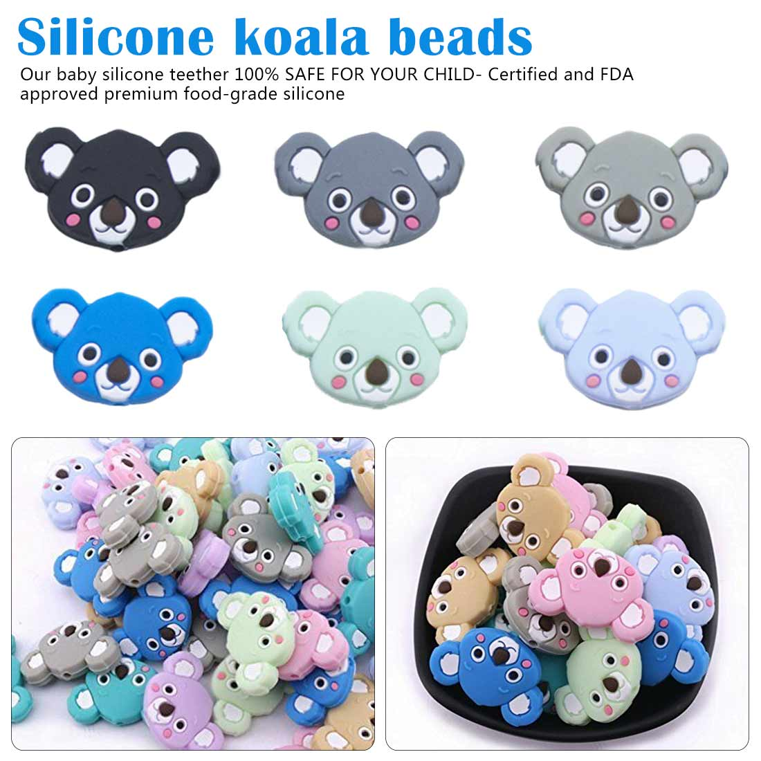 6pcs Silicone Teether Beads DIY Unicorn Star Penguin Flower Koala Flamingo Baby Teething Sensory Jewelry Cartoon Beads