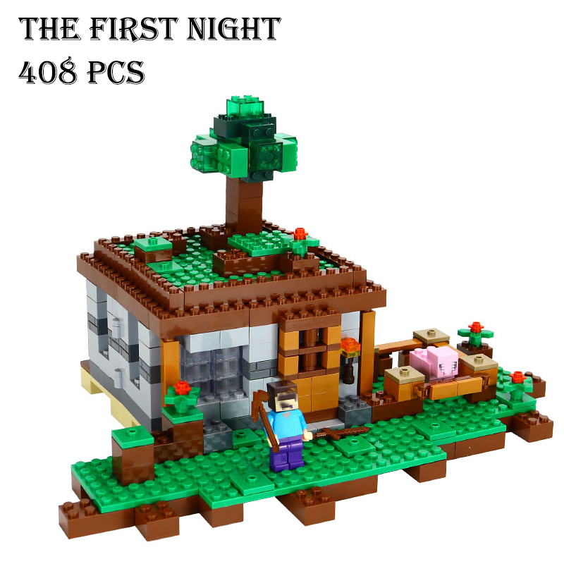 Model building kits compatible with lego 18017 21115 my worlds MineCraft The first night Educational toys