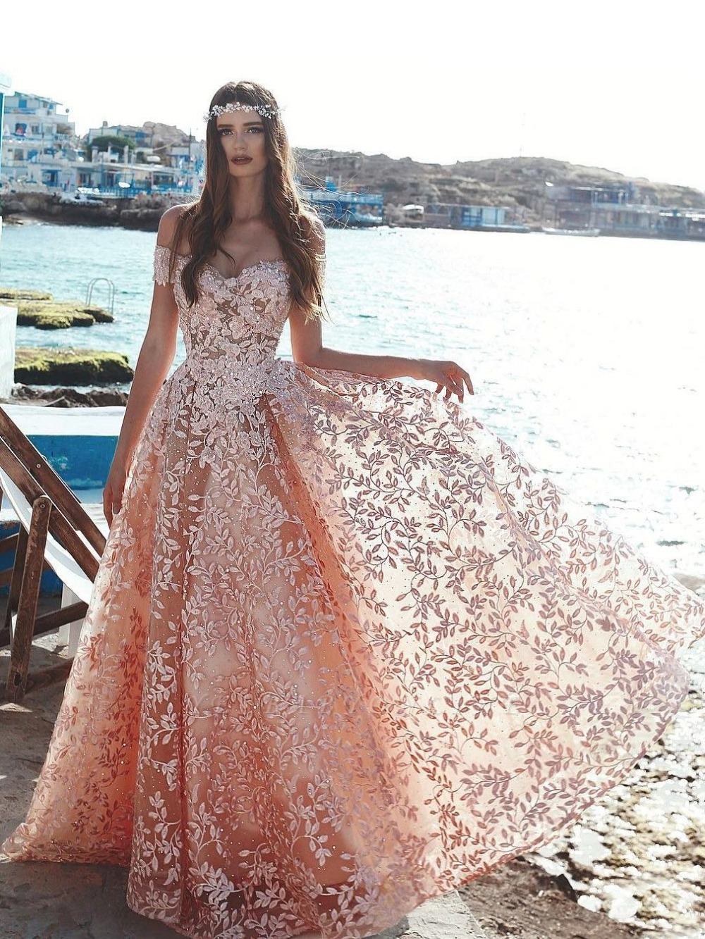 Amazing New Long   Evening     Dress   2019 abendkleider Sweetheart Neck Cap Sleeve Floor Length Lace Prom   Dresses   Robe de soriee