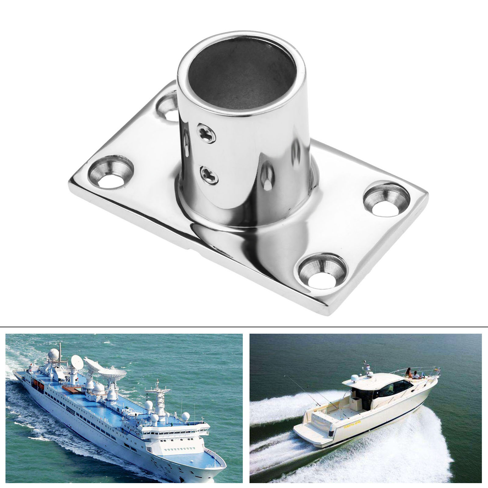 """Stainless Steel Rail Fit 1/"""" 45 Degree Round Base Boat Marine for 1/"""" Tube//Pipe"""