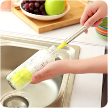 Handy Long-handled Cleaning Brush Curved Glass Cup Brush Wine Bottle Tea Coffee Mug Dish Washing Tools Stainless Handle Brush particular handled skull design 400ml wine coffee tea cup