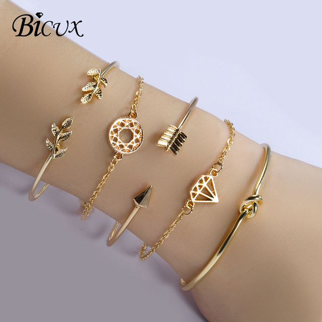 BICUX 5pcs/Set Fashion Bohemia Leaf Knot Hand Cuff Link Chain Charm Bracelet Bangle for Women Gold Bracelets Femme Jewelry Gift