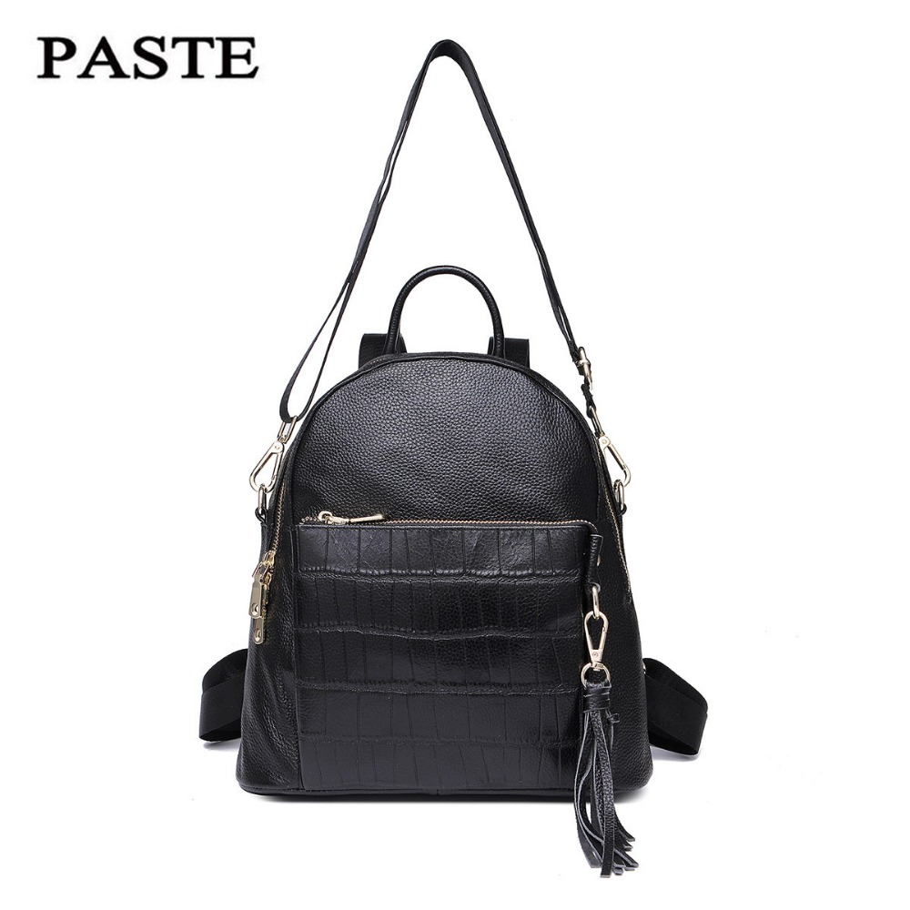 PASTE Women Backpack Genuine Cowhide Leather Bag Small Female Tassels Backpack Mochila Feminina School Bags for Teenagers Girls weave backpack women genuine leather bag women bag cow leather women backpack mochila feminina school bags for teenagers li 1390