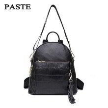 Паста женщины рюкзак из натуральной яловой кожи сумка маленькая женщина кисточки рюкзак Mochila Feminina школьные сумки для подростков девочек