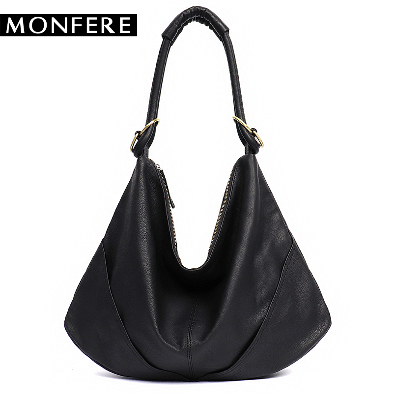 b04873b211 MONFERE Soft Real Genuine Leather Women s Handbag Ladies Shoulder Bags  Purse Hobo Black Brown Female Large Luxury Cowhide Totes