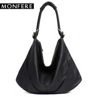MONFERE Soft Real Genuine Leather Women S Handbag Ladies Shoulder Bags Purse Hobo Black Brown Female
