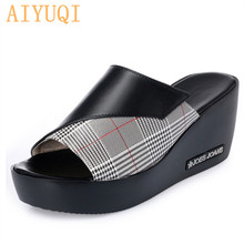 AIYUQI woman platform flip flops 2019 new summer women genuine leather slipper high heel shoes big size 41 42 43