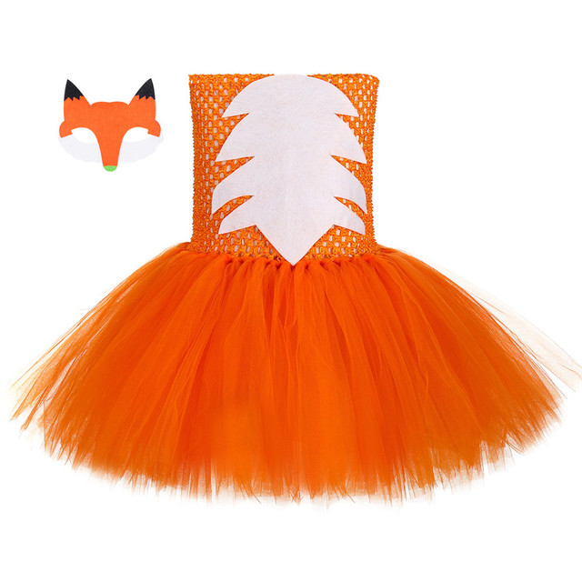 Cute Fox Tutu Dress Outfit Toddler Baby Girls Birthday Party Dress Crazy Animal Nick Halloween Carnival Cosplay Costume for Kids