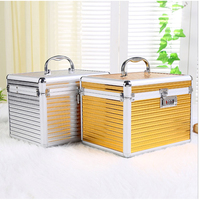Aluminium Alloy waterproof cosmetics case Storage Boxes with coded lock and mirror