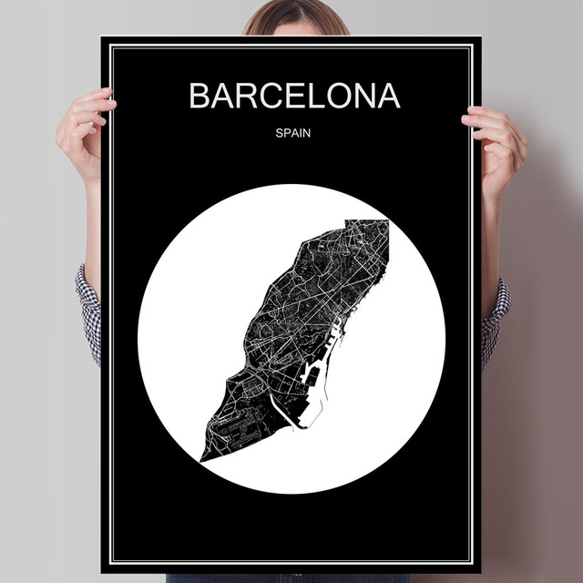 World city map barcelona spain print poster print on paper or canvas wall sticker for bar