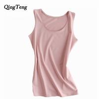 QingTeng Vrouwen Sexy Katoen Tank Tops Zomer Slanke Mouwloze Croptops T-shirt Hot Hemdje Vest Breien Tops Cropped Voor Dames