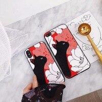Güzel Embriodery Kedi Yumuşak Silikon ve Plastik Cep Telefonu Kılıfı iPhone8 8 Artı Saray Şakayık Çiçek Baskı Koruyucu Kabuk Için kapak