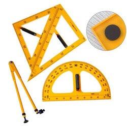 Набор из 4 предметов, 45, 60 градусов, треугольная линейка, транспортир, набор, школьный, для учителя, планировщик, чехол, органайзер для офиса, к...