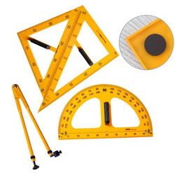 Set de 4 Uds. De 45 regla triangular de 60 grados, set de transportadores para profesores de escuela, organizador de escritorio, papelería de oficina, suministros de dibujo
