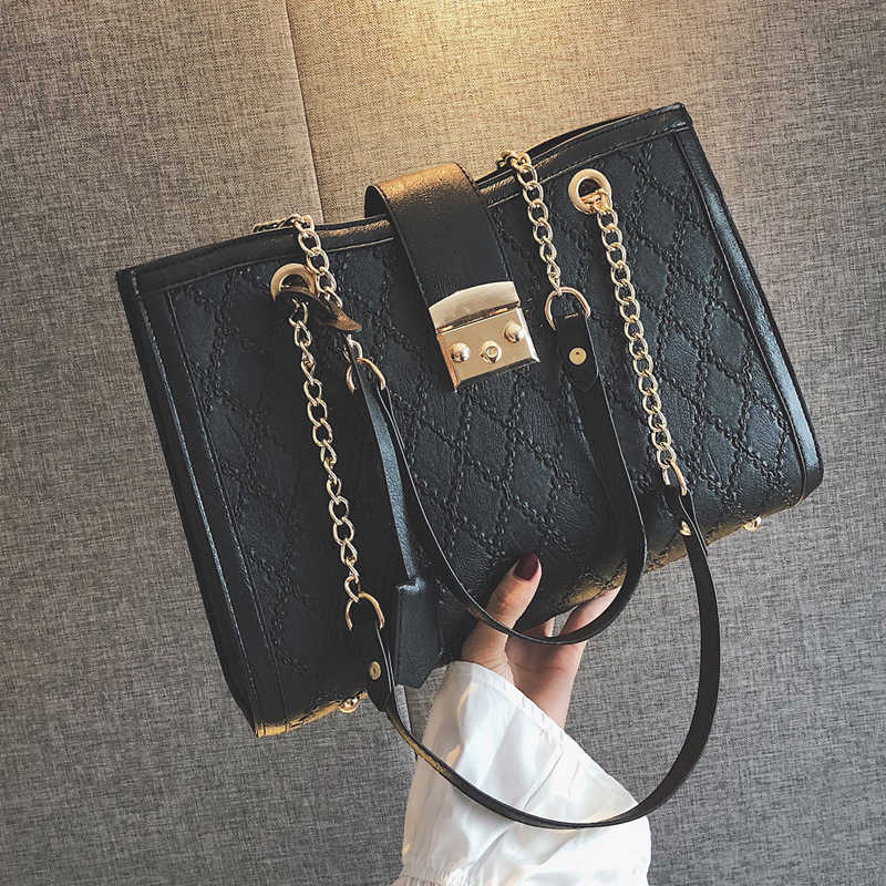 Большая роскошная Брендовая женская клетчатая сумка-тоут, женские черные дизайнерские Сумки из искусственной кожи, большие стеганые на цепочке, сумка через плечо
