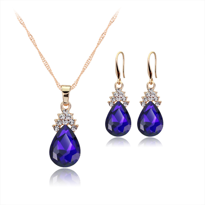 ჱ3 Color Angel\'s tears Necklaces Drop Earrings Wedding Jewelry Sets ...