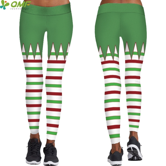 1ea13ce534dcc1 Merry Christmas Green Stripes Yoga Trousers Women Holiday Leggings Skinny  Tights Santa Claus Fitness Sports Tayt