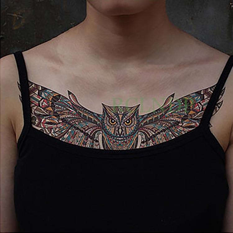 Temporary Tattoo Sticker Large Size Body Art Sketch Flower: Waterproof Temporary Tattoo Sticker Owl Fake Tatoo Animal