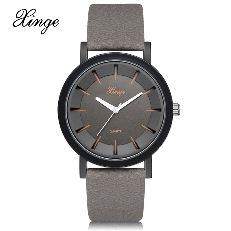 Xinge Brand Black Men Watches Fashion Leather Swim Quartz Wristwatch 30M Water Resistant Clock Luxury Men Dress Waterproof Watch