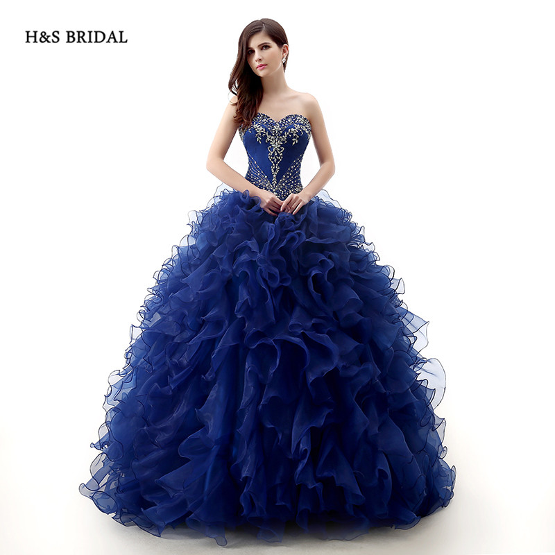 H&S BRIDAL Royal Blue Organza Beaded Ball Gown Party Prom Dresses ...