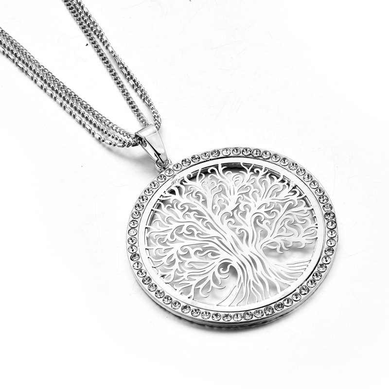 ATTRACTTO แฟชั่นสแตนเลสจี้สร้อยคอจี้สำหรับผู้หญิง Tree Of Life สร้อยคอหรูหราเครื่องประดับสร้อยคอ SNE180003