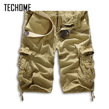 2017 New Arraive  Men Top Fashion Multi-Pocket Solid Mens Cargo Short Pants High Quality Summer Pants Plus Size Men Trousers