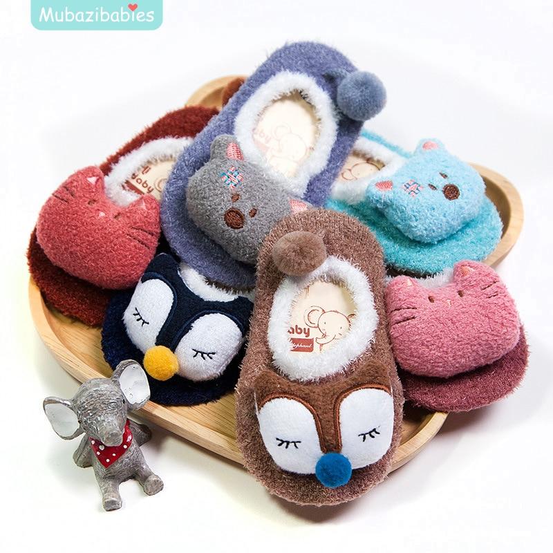 Winter Baby Boy Girl Children Socks Anti Slip Newborn Animal Cartoon Shoes Slippers Boots Soft Warm Coral Fleece Indoor Socks