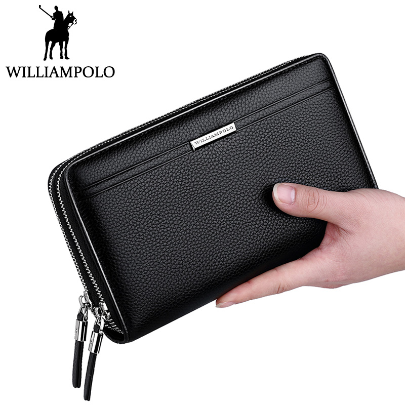 WILLIAMPOLO Double Zipper Genuine font b Leather b font Clutch Bag Men Flap Day Clutches Business
