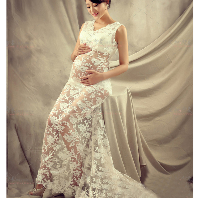 White Lace Maternity Photography Props Royal Style Dresses Pregnant