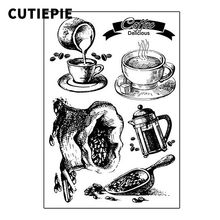Homemade Delicious Coffee Transparent Clear Stamps for Scrapbooking DIY Silicone Seals Photo Album Paper Card Making Decor Craft