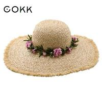 COKK Lafite Straw Sun Hat Summer Hats For Women Ladies Wide Tassel Brim Beach Hat Female Floppy Foldable Vacation Travel Sunhat