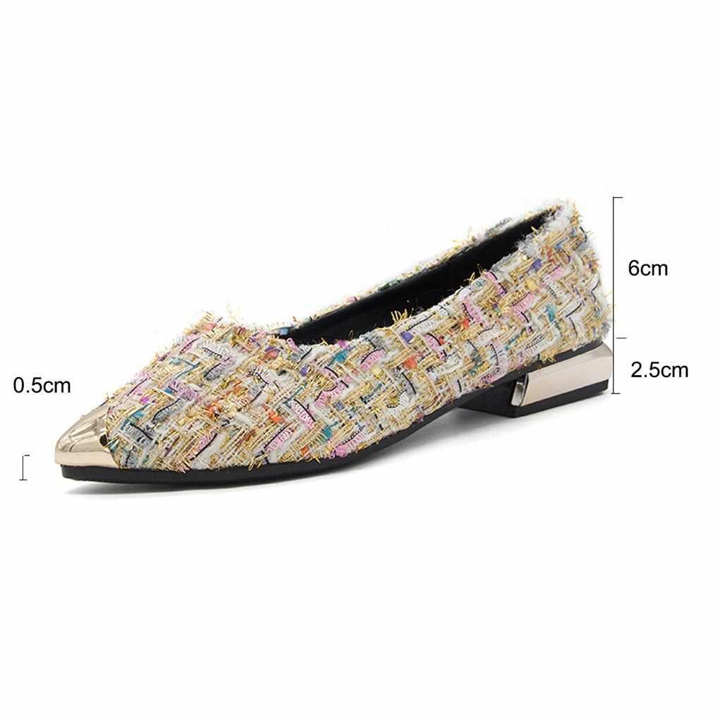 Nữ Giày Sandal Nữ Giày Mùa Hè Kim Loại Màu Hỗn Hợp Nông Đơn Mũi NhọnGiày Thoải Mái Đảng Đi Biển cho Zapatos Mujer