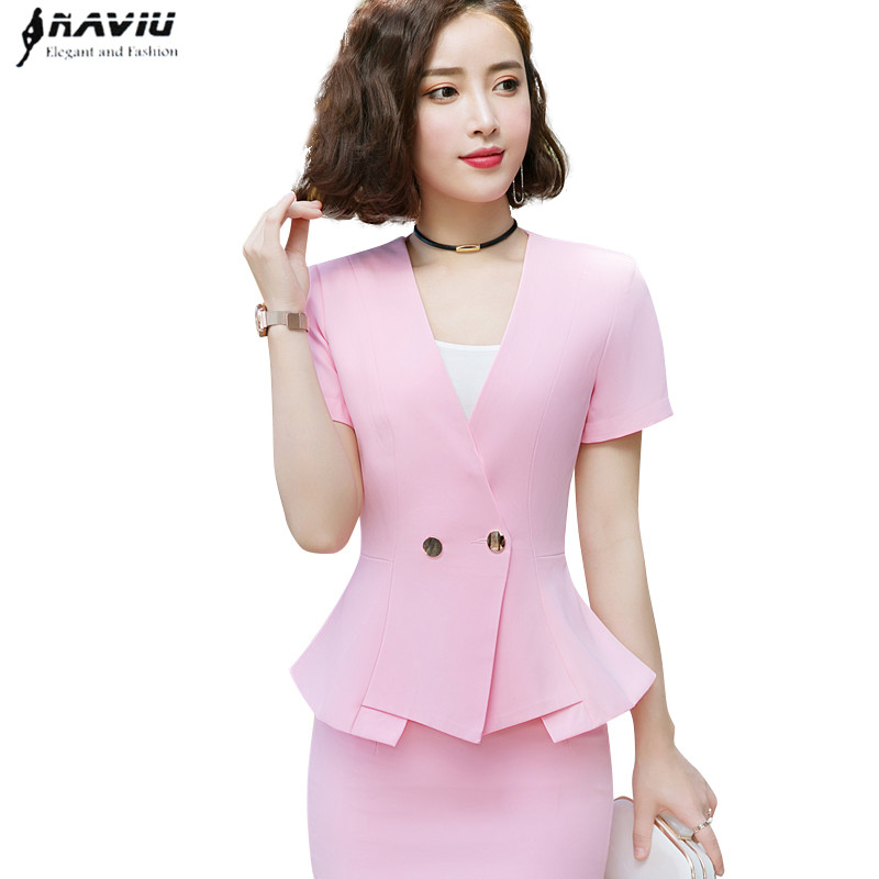 282af0a94606 2019 new summer short-sleeve skirt suits two pieces set fashion slimming  hotel uniform jewelry