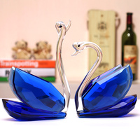 Crystal Glass Swans Figurines Paperweight Crafts Fengshui Ornaments Home Decoration Wedding Valentine's Day Gifts