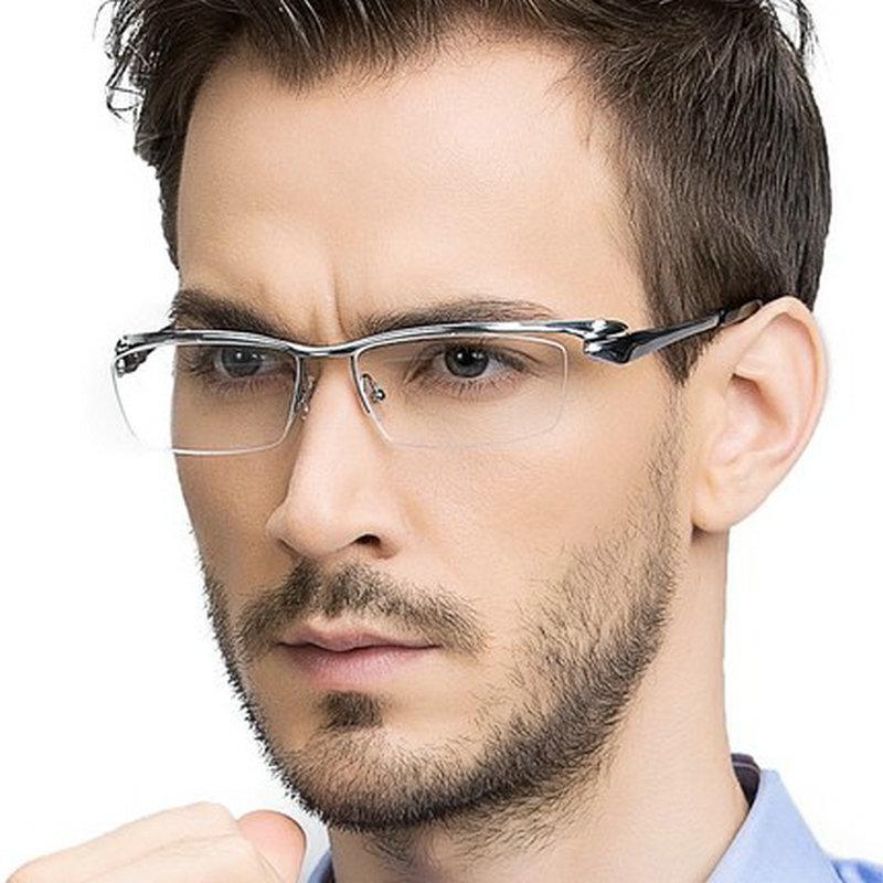 MINCL Brand Pure Titanium Ultra Light Tint Glass Men Stylish Eye Glasses Frame Diamond Trimmed clear