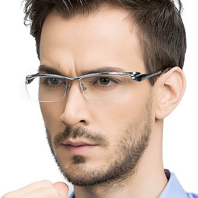 b4fc491a0d MINCL Brand Pure Titanium Ultra Light Tint Glass Men Stylish Eye Glasses  Frame Diamond Trimmed