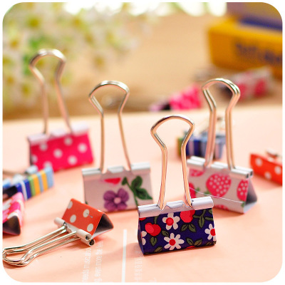 2pcs/lot Kawaii Sweet Fresh Printed Metal Paper Clips Cute Heart Dot Strawberry Binder Clip For Student Office School Suppllies